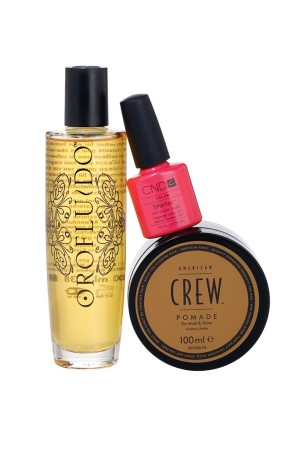 The Colomer Group product examples: Orofluido (hair care) CND (professional nail care), American Crew Pomade (hair care).