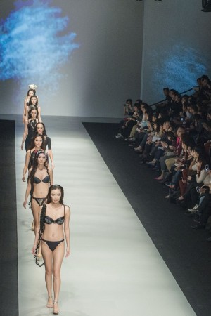 Models on the runway at Shanghai Mode.