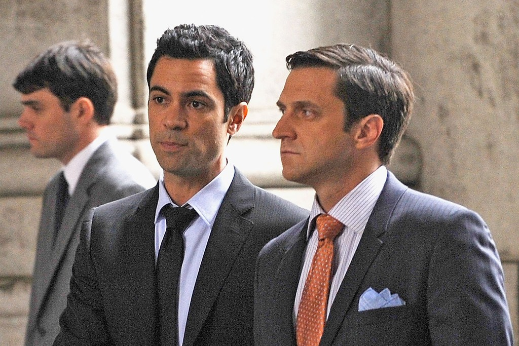 Danny Pino and Raúl Esparza on the set of Law & Order: SVU.