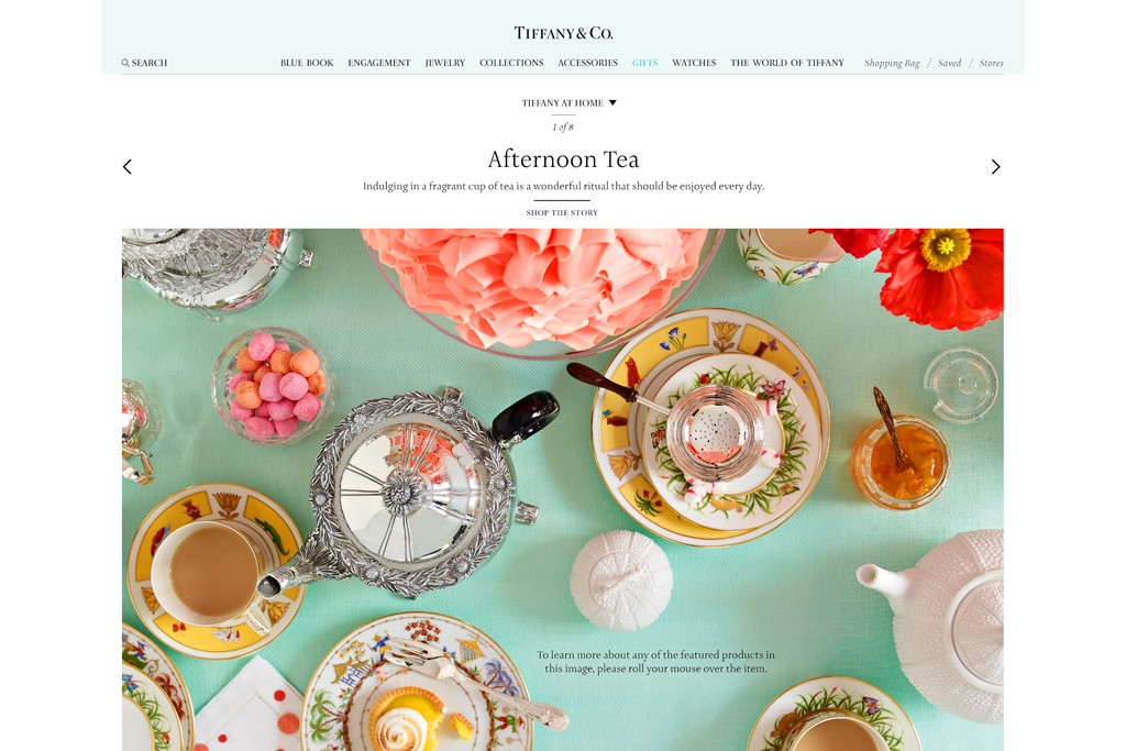 The revamped Tiffany Web site.