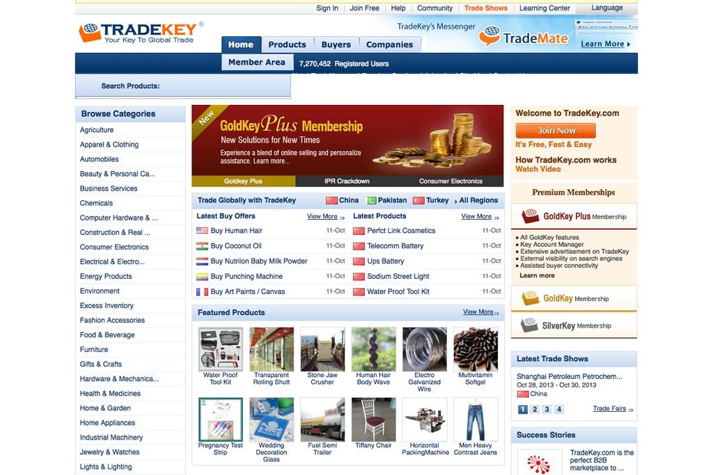 The Tradekey.com homepage.