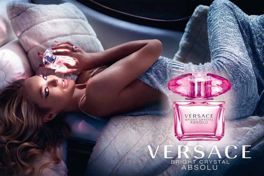 An ad for Versace Bright Crystal Absolu.