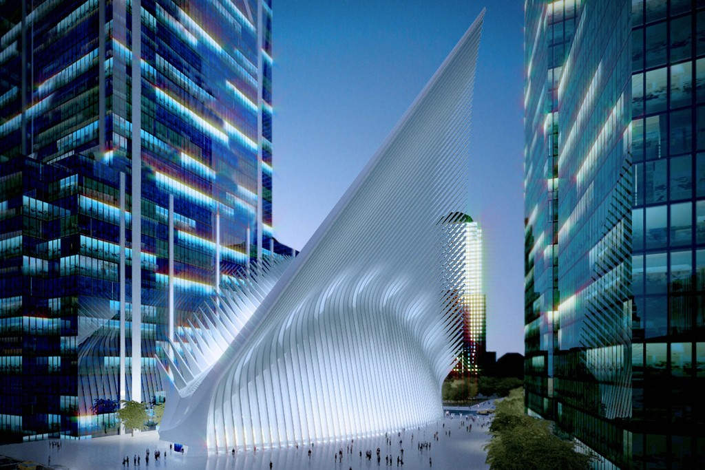 A rendering of the West Concourse of the World Trade Center's dramatic Oculus.