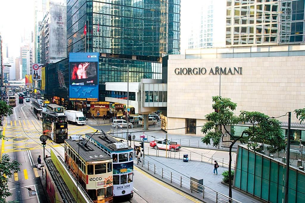 Exterior of a Giorgio Armani store in Hong Kong.