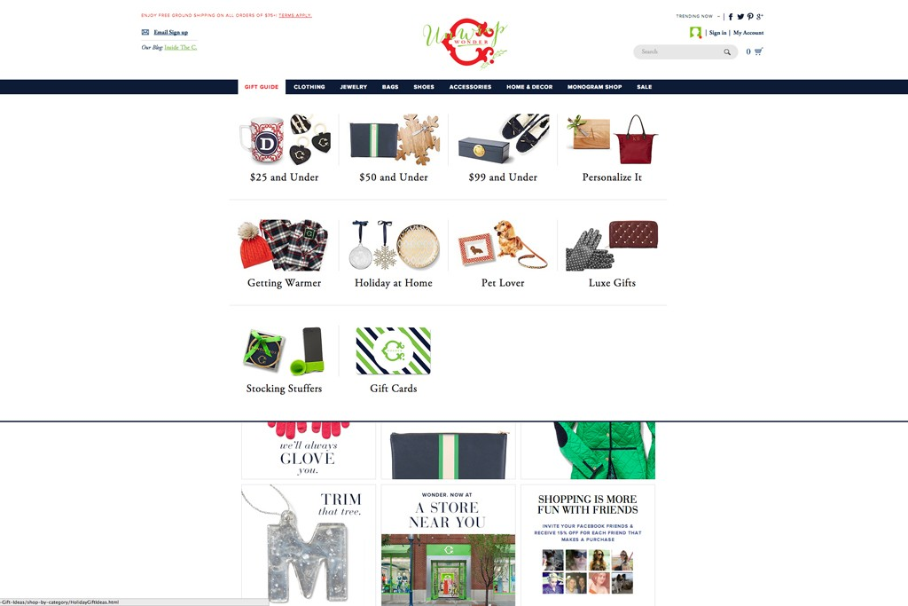 C. Wonder launched its online gift guide on Friday.