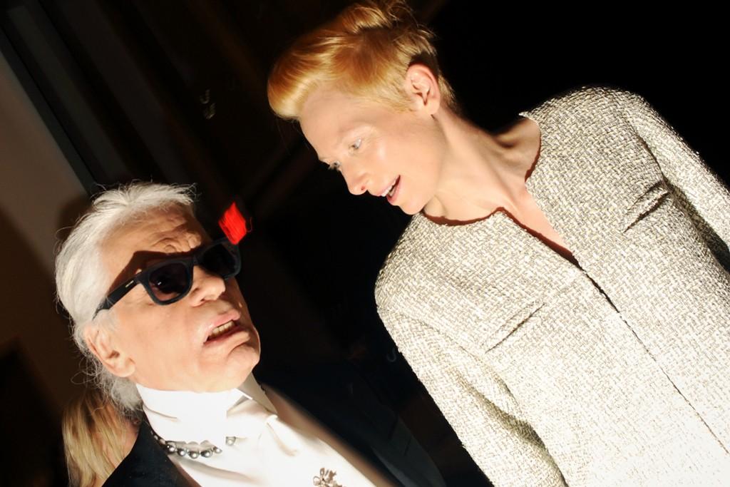 Karl Lagerfeld with Tilda Swinton in Chanel.