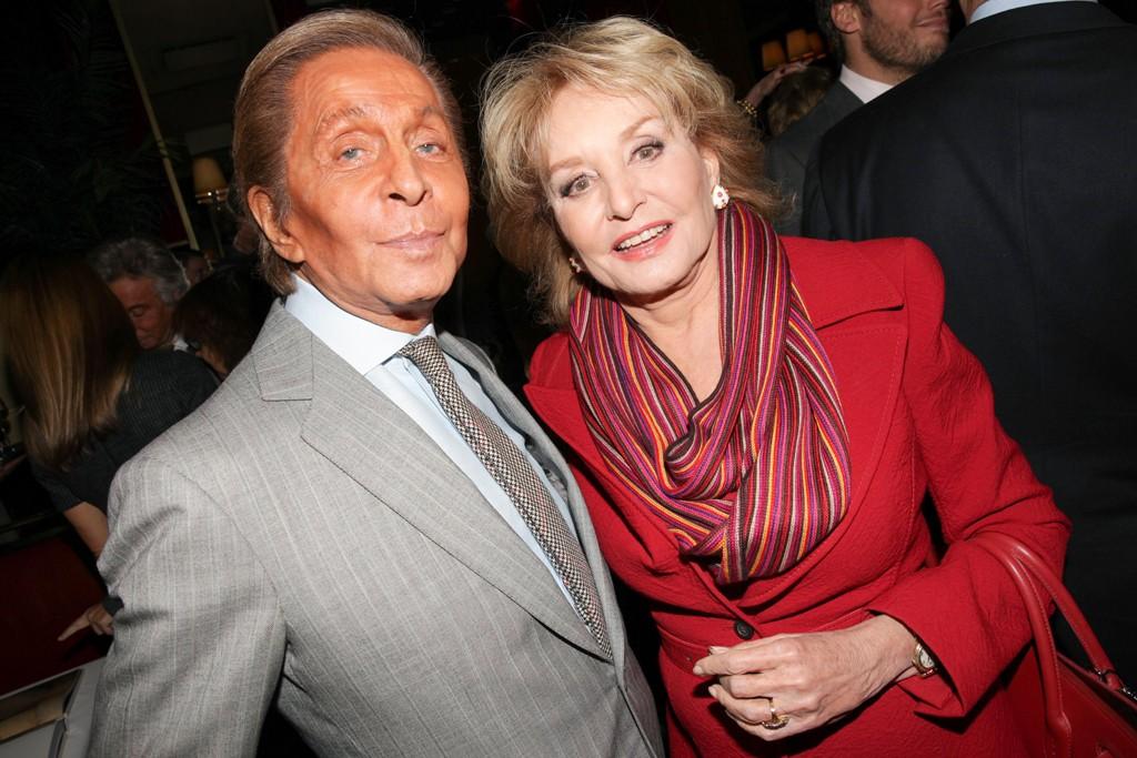 Valentino and Barbara Walters