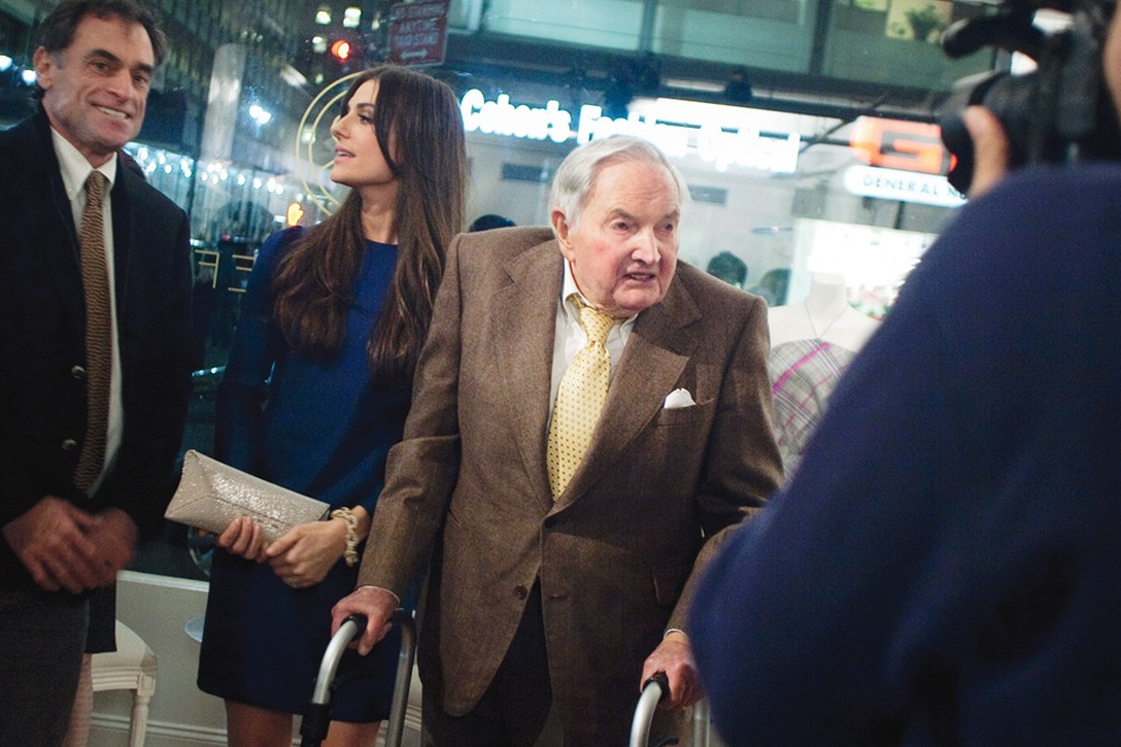 Ariana Rockefeller with her grandfather David at the opening of her pop-up shop.