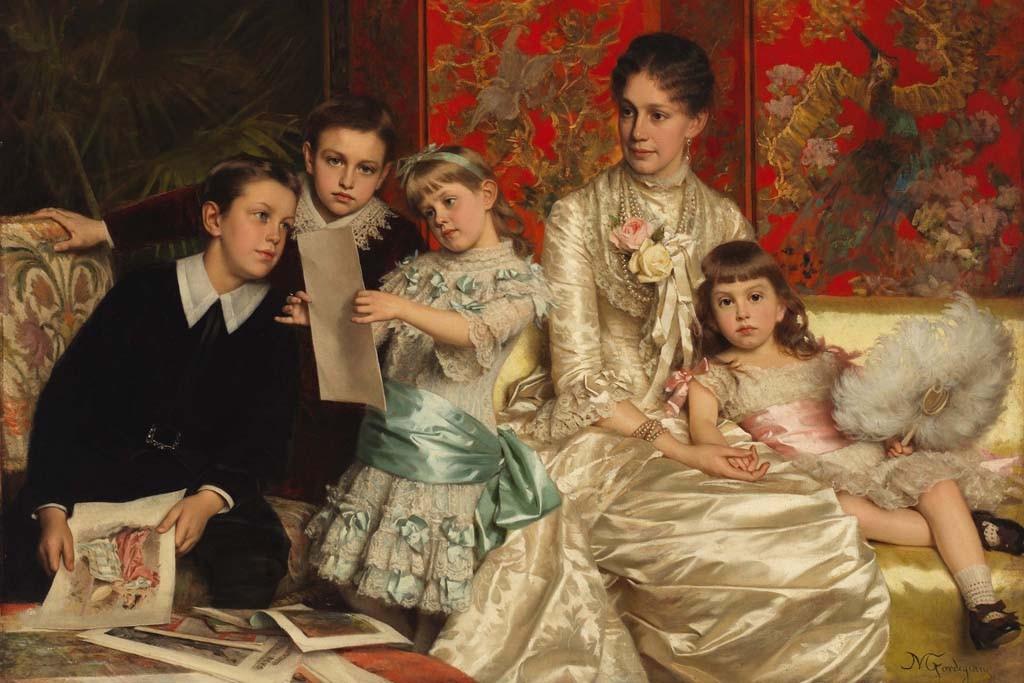 """""""Cornelia Ward Hall and Her Children"""" by Michele Giordigiani, 1880."""