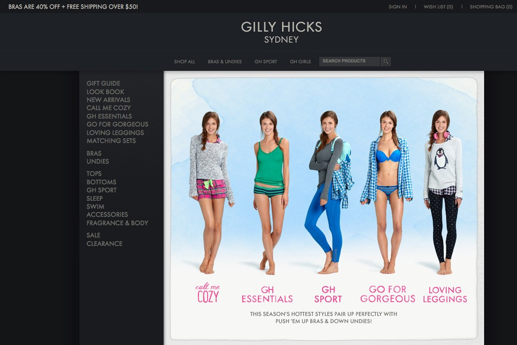 Gilly Hicks will be incorporated into Hollister stores.