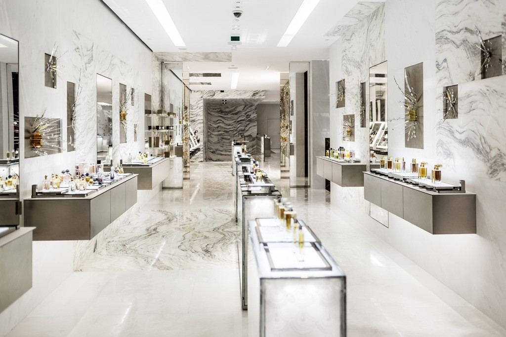 The main selling space of Guerlain's revamped Paris flagship.
