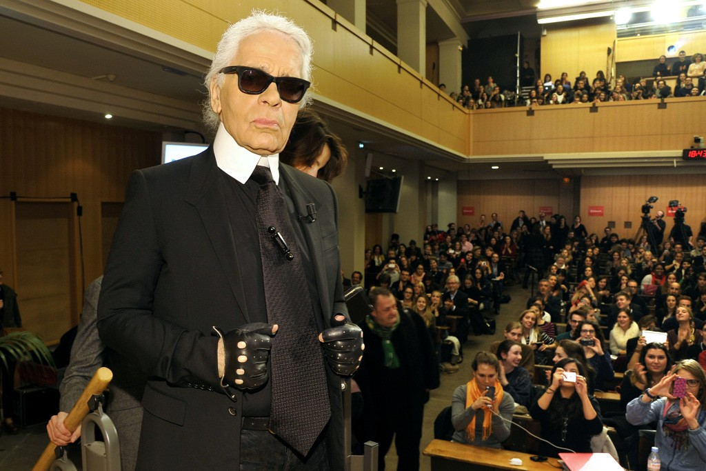 Karl Lagerfeld at Sciences Po in Paris.