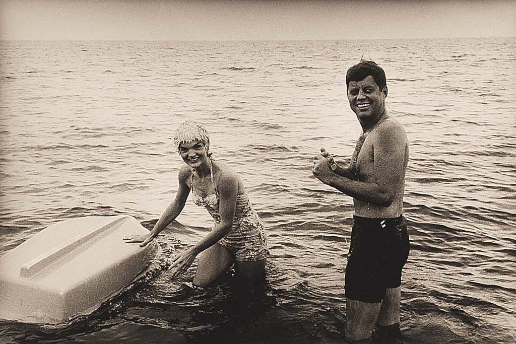 Jackie and John F. Kennedy on Cape Cod in 1960.