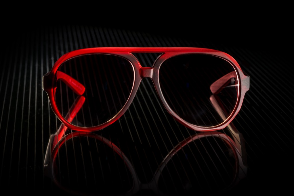 A pair of glasses created by Italia Independent and Karl Lagerfeld