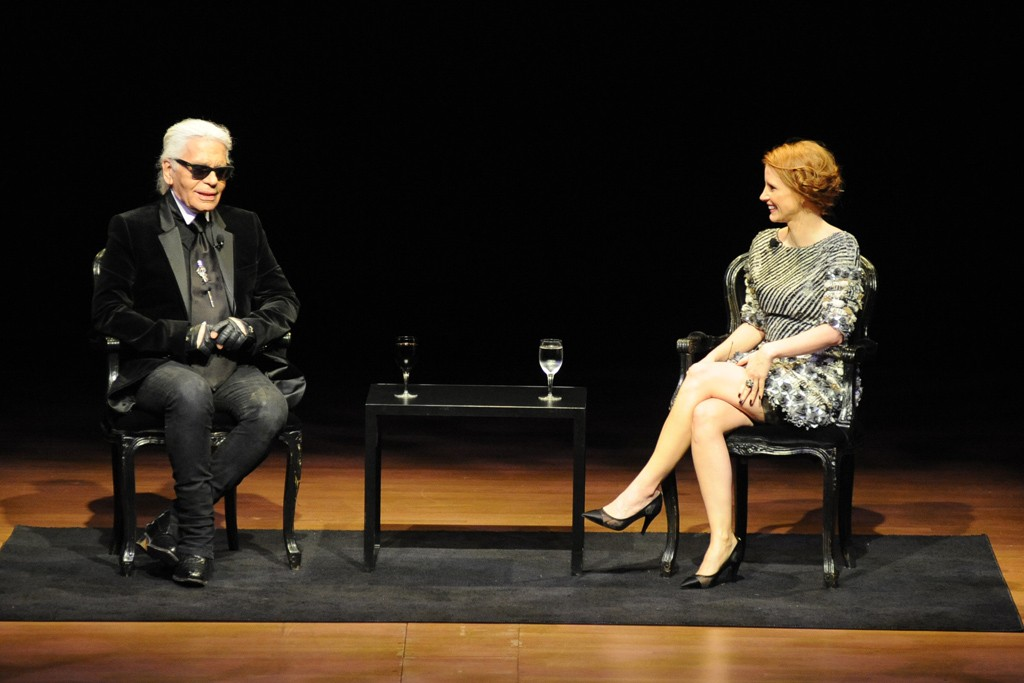 Karl Lagerfeld and Jessica Chastain