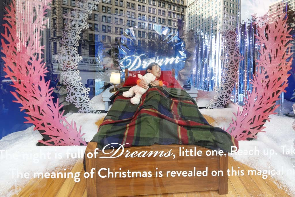 A view of Macy's holiday windows.