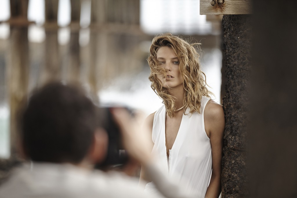 Daria Werbowy at the Mango photo shoot in the Canary Islands.