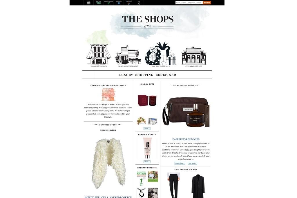 A screenshot of WSJ Shops.
