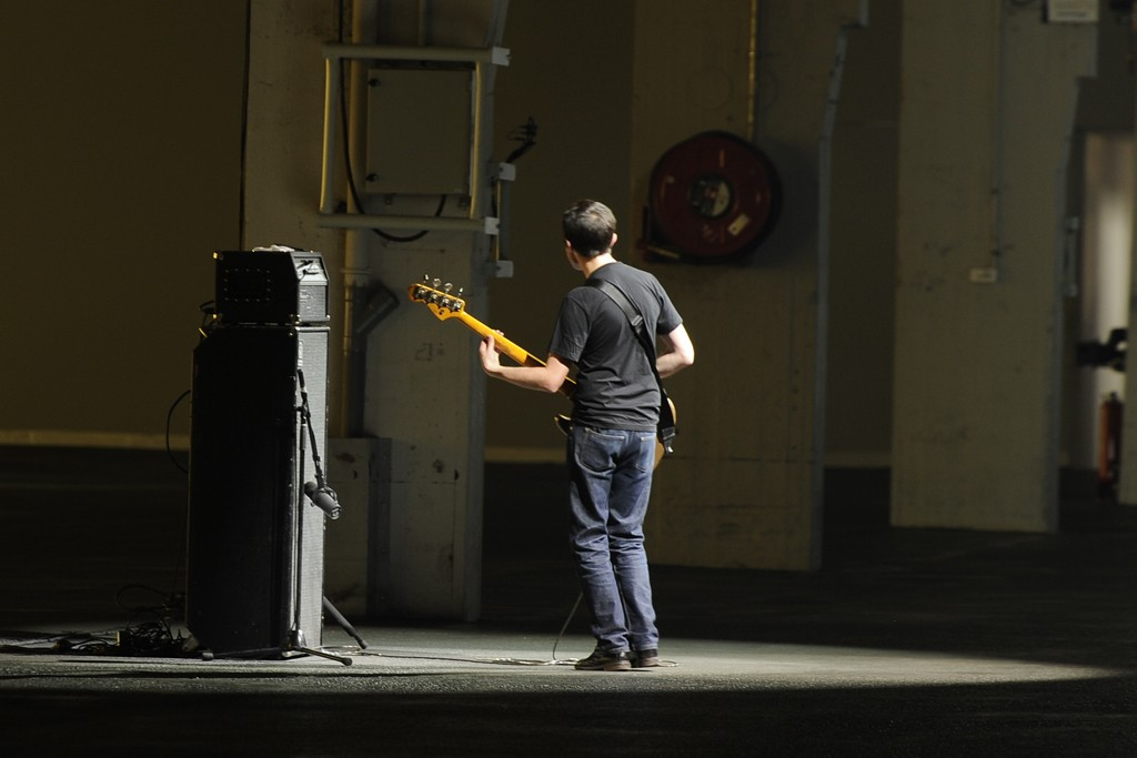 Radiohead's Collin Greenwood played solo bass riffs at Dries Van Noten.