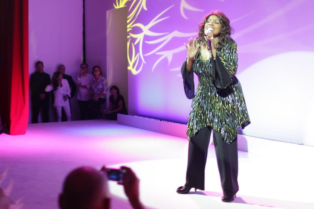 Gloria Gaynor performs at Moschino RTW Spring 2014