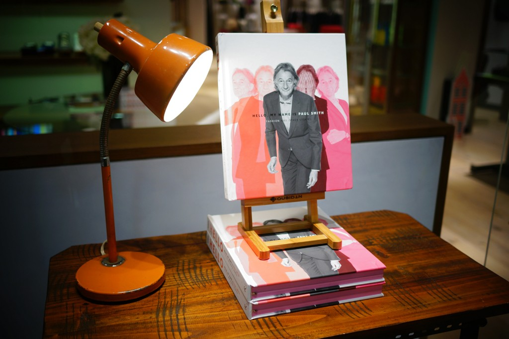 """Paul Smith's book, """"Hello, My Name is Paul Smith: Fashion and Other Stories,"""" on display."""