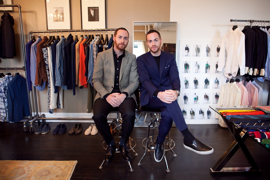 Ariel and Shimon Ovadia, wearing their own collection, at their Soho showroom and office.