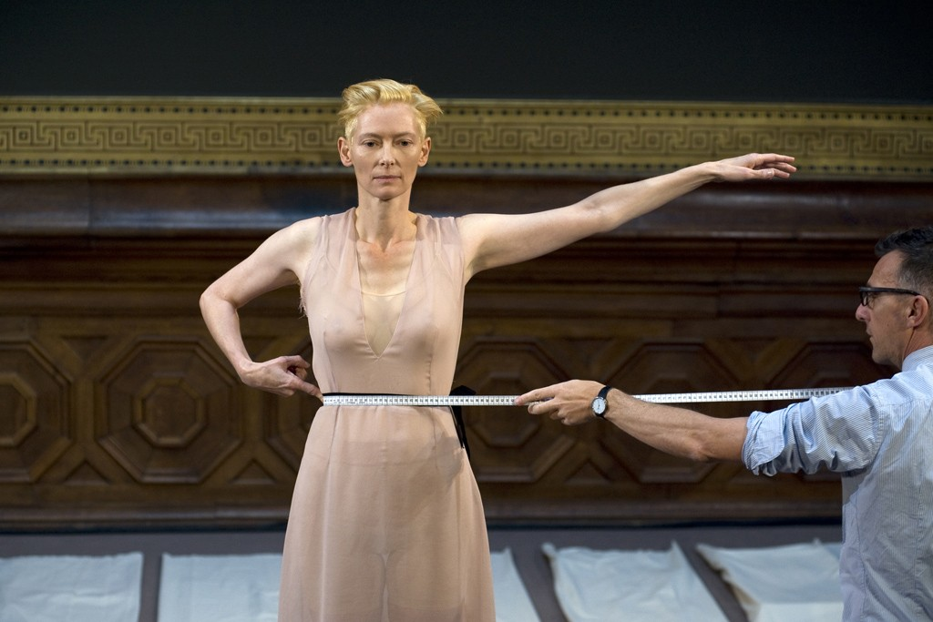 """Eternity Dress"" performance with Tilda Swinton and Olivier Saillard."