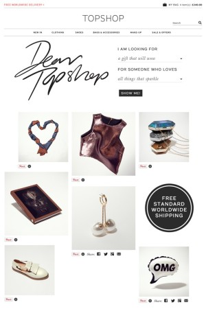 Topshop's holiday campaign homepage.?
