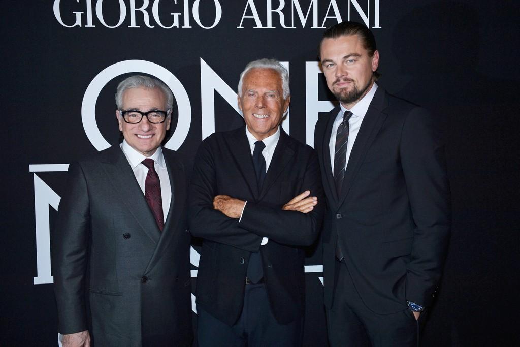 Martin Scorsese, Giorgio Armani and Leonardo DiCaprio.