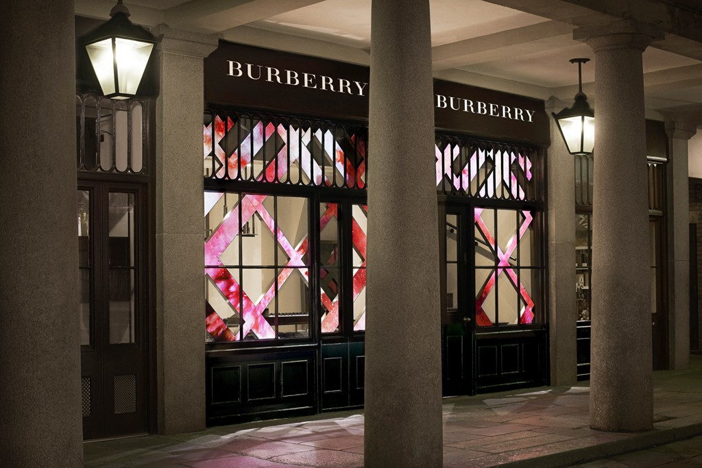 Outside Burberry Beauty Box in Covent Garden.