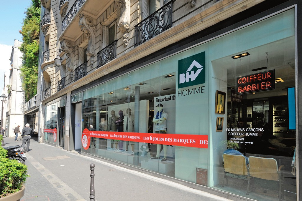 BHV Homme store in the Marais district.