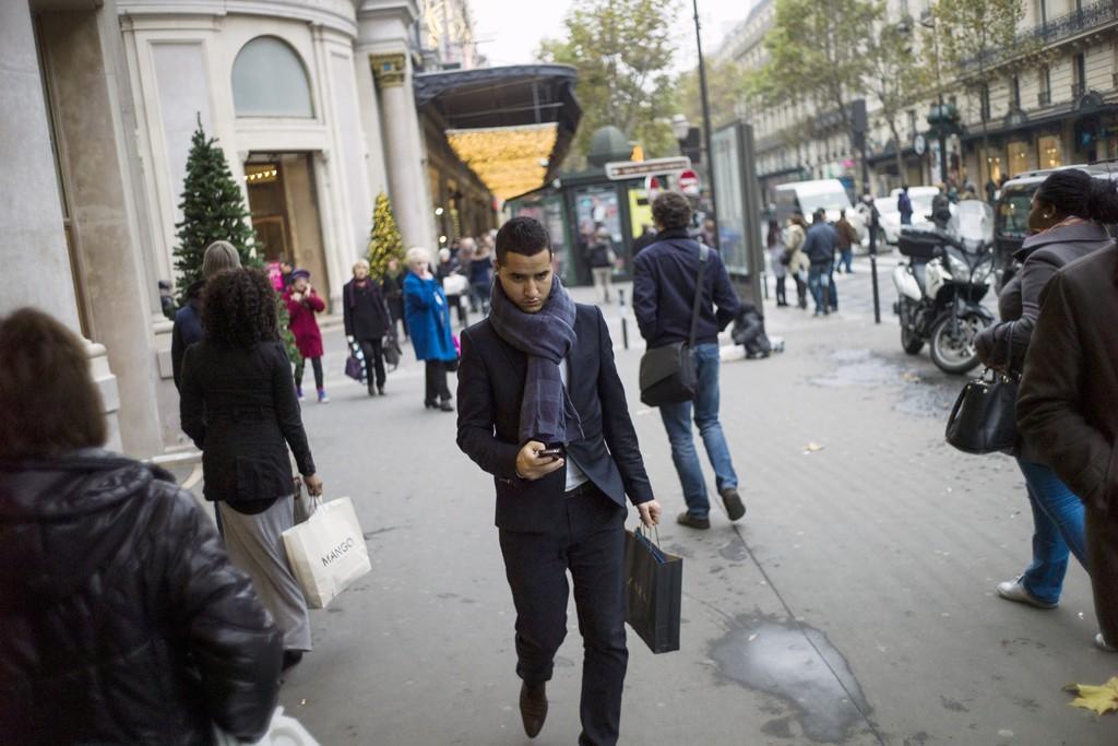 Shoppers in central Paris.