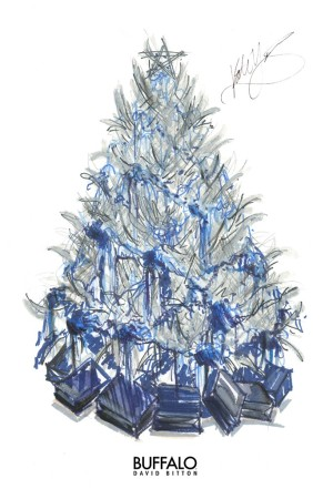 """A sketch of the metallic tree draped in hand-dyed wool with denim-wrapped presents from Buffalo David Bitton's """"Blank Check Series."""""""