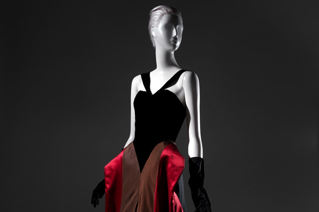 The Charles James velvet, satin and faille evening dress, 1946.