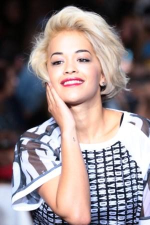 Rita Ora on the runway at DKNY's spring '14 show.