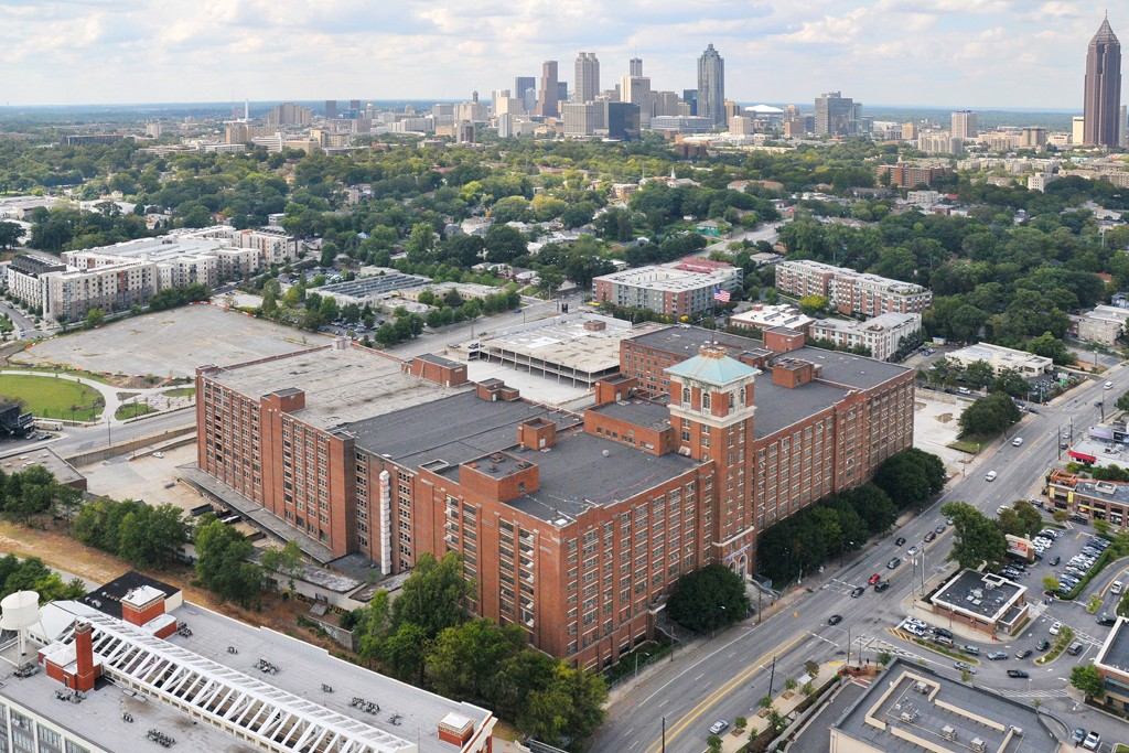 An aerial view of Ponce City Market.
