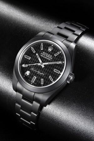 The customized Karl Lagerfeld Rolex watch.