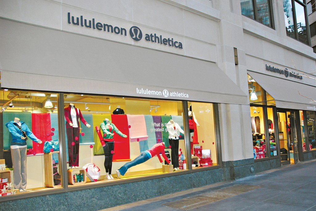 Outside a Lululemon store.