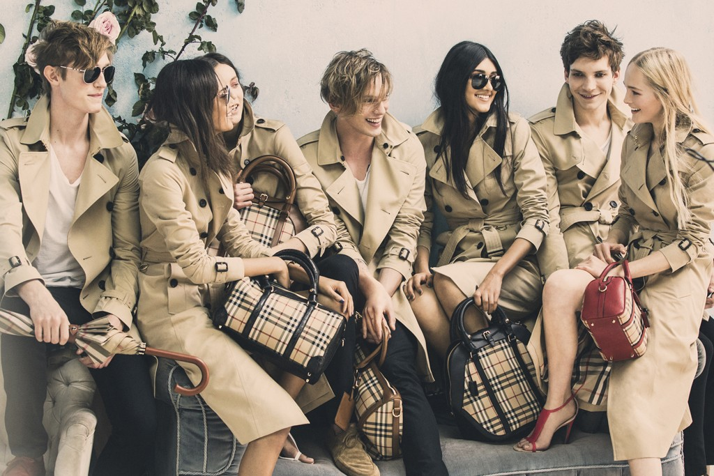 A behind-the-scenes exclusive image from the Burberry spring campaign shoot.