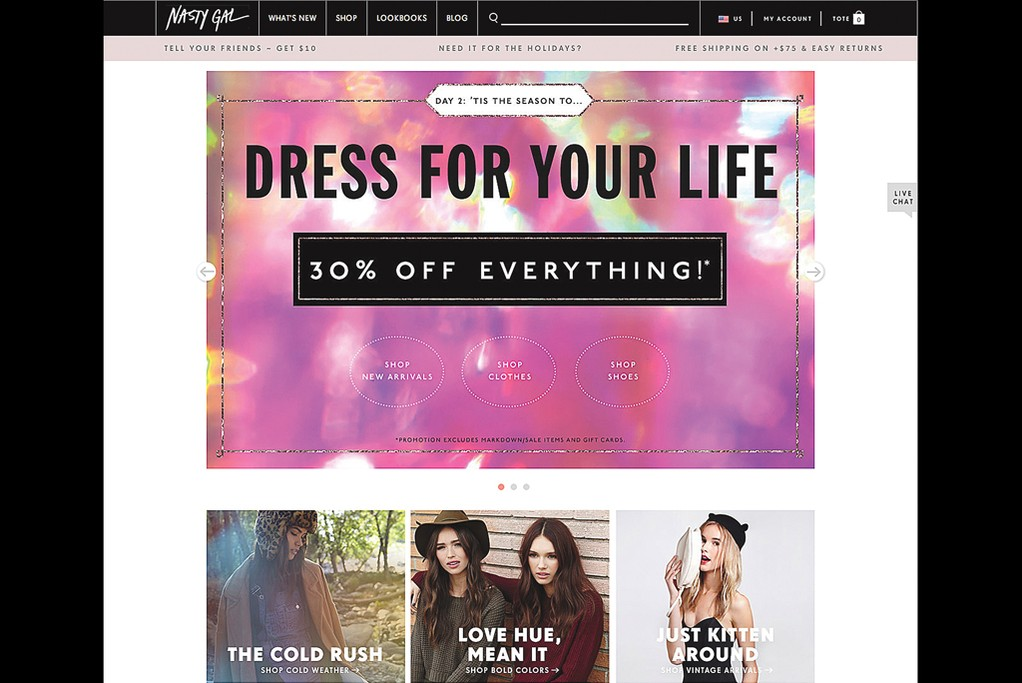 """Nasty Gal launched a """"Blackout"""" sale on Thanksgiving and Black Friday."""