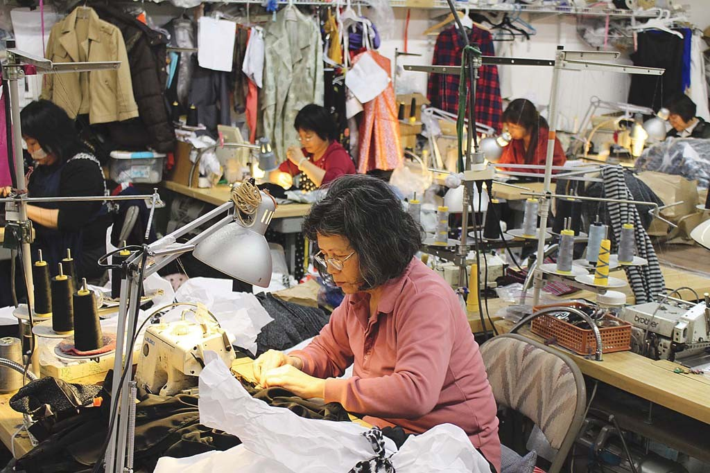 Seamstresses at Jeannette Inc. in South San Francisco.