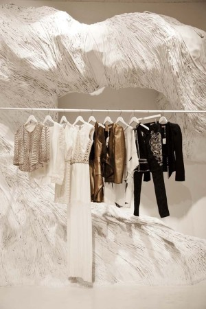 """The """"driftwood"""" installation at the Sass & Bide store in SoHo."""