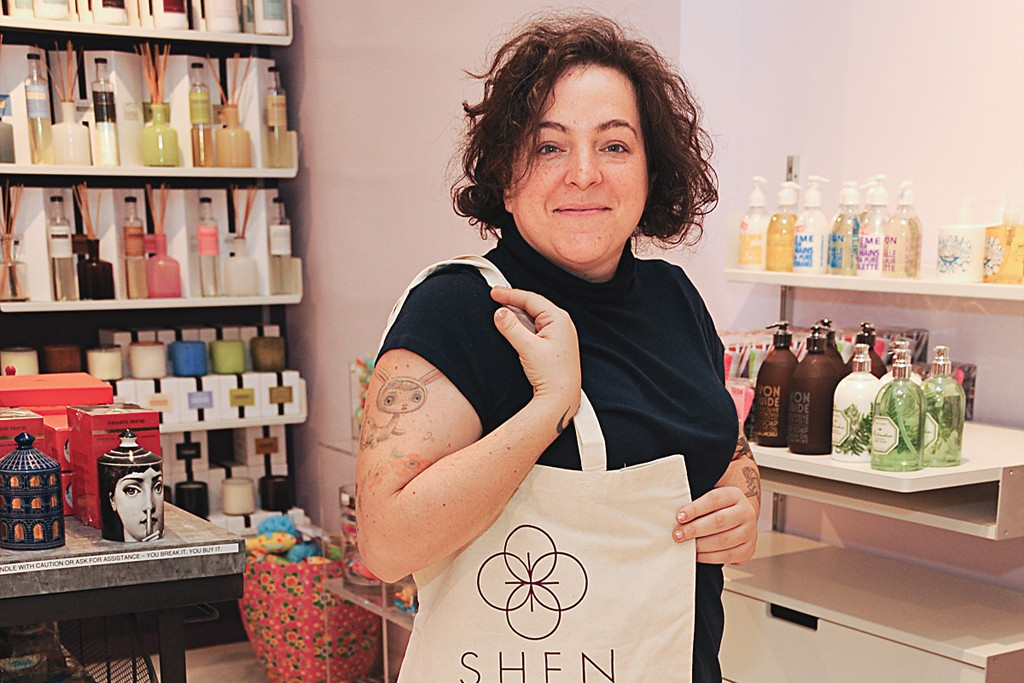 Molly Sugarman shopping at the Shen Beauty store in Brooklyn.
