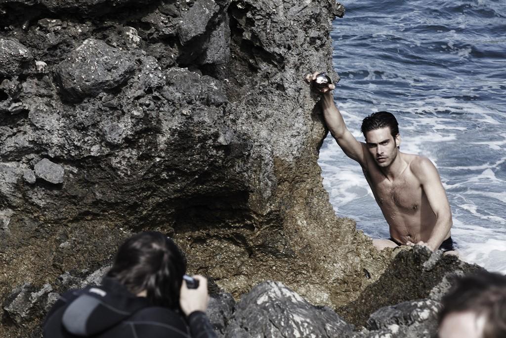 A behind-the-scenes look at Bulgari's Aqua Amara men's fragrance campaign featuring Jon Kortajarena, photographed in Capri by Mario Sorrenti.