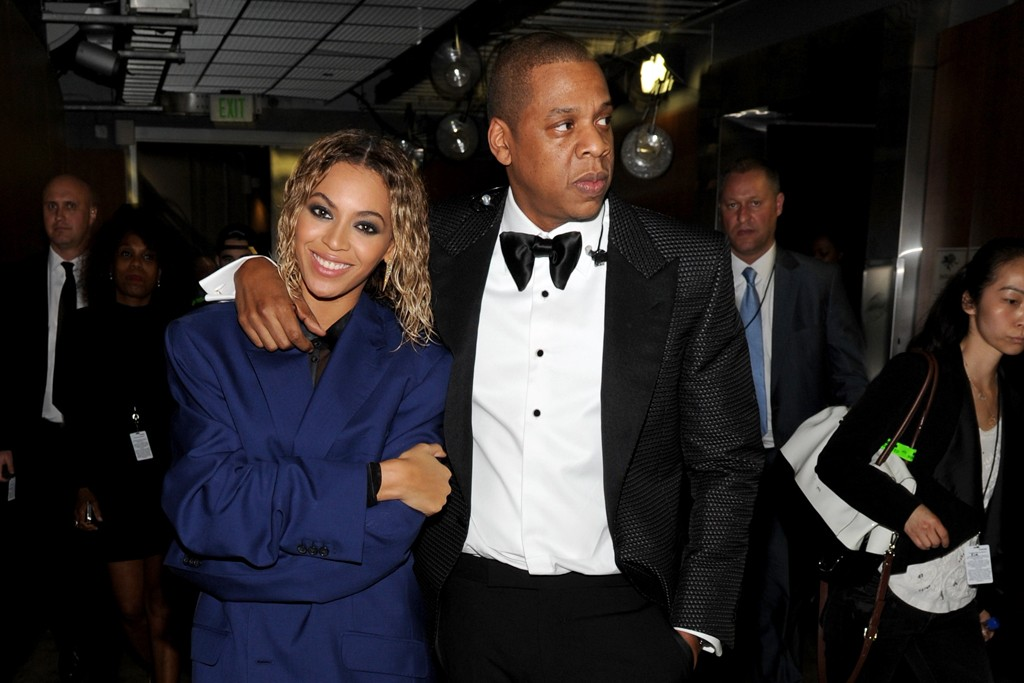 Beyonce with Jay-Z in Tom Ford at the 56th annual Grammy Awards.