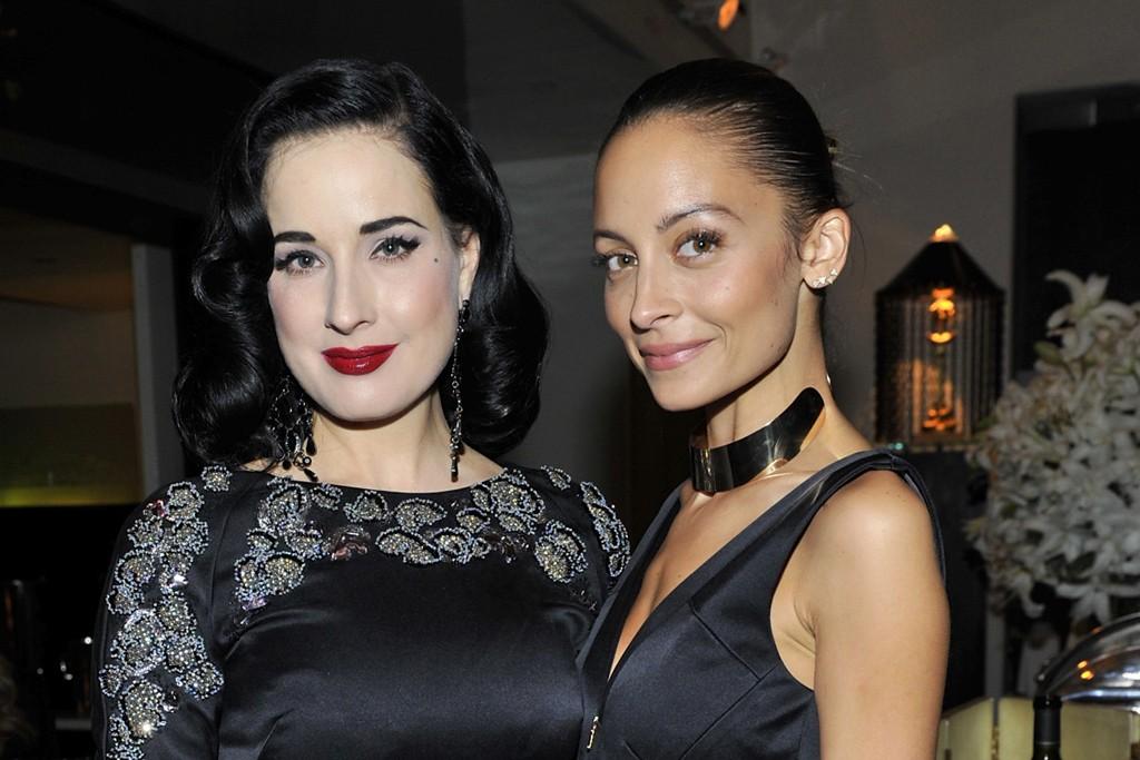 Dita Von Teese and Nicole Richie, both wearing Antonio Berardi.