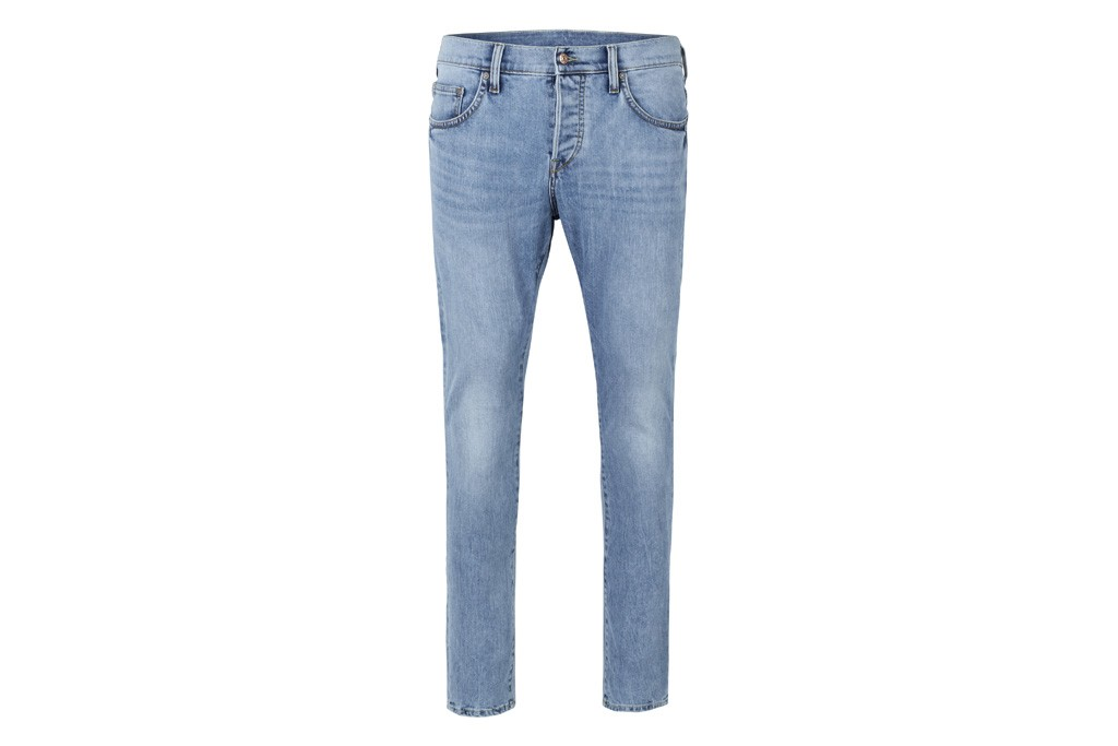 An H&M denim garment made from recycled fibers.