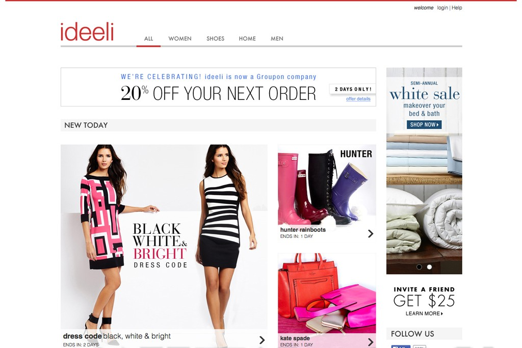 Ideeli sells merchandise at 60 to 80 percent of manufacturers' suggested retail price.