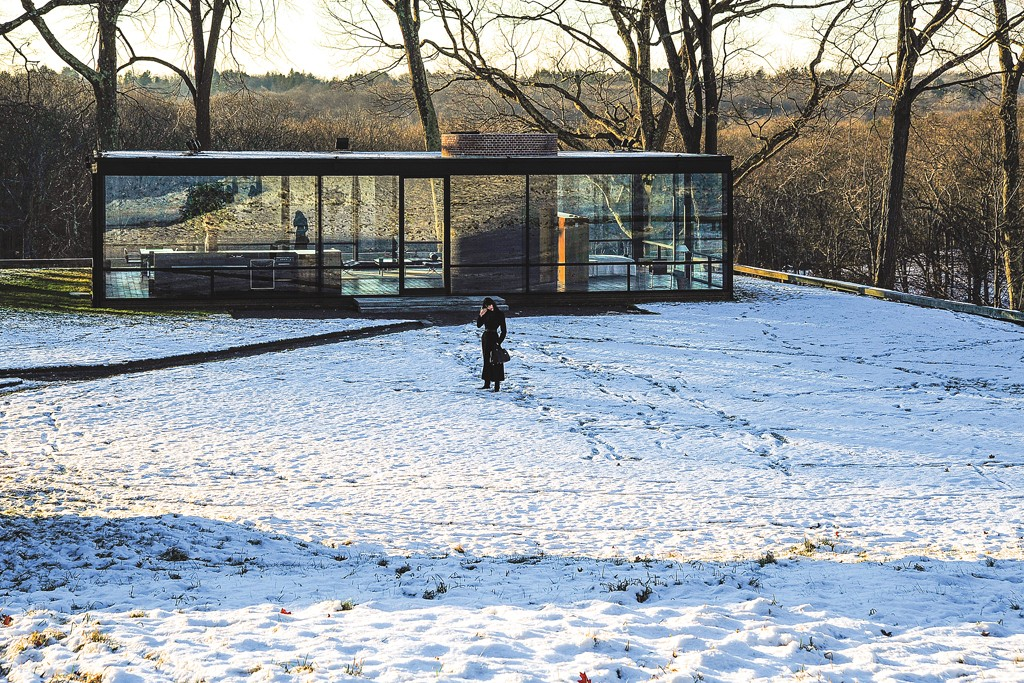 Edie Campell at the Philip Johnson Glass House.