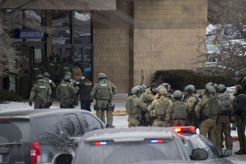 The scene outside the mall in Columbia, Maryland.